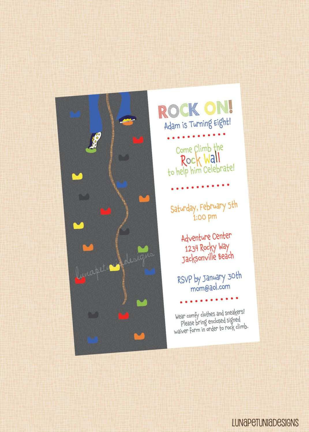 Rock Wall . Birthday Party Invitation . Any Colors . Boy or Girl ...