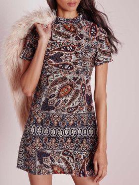 Robe vintage imprimé col rond manche courte -multicolore