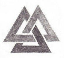 Valknut tattoo - a norse design. A dedication to Odin and a symbol of protection