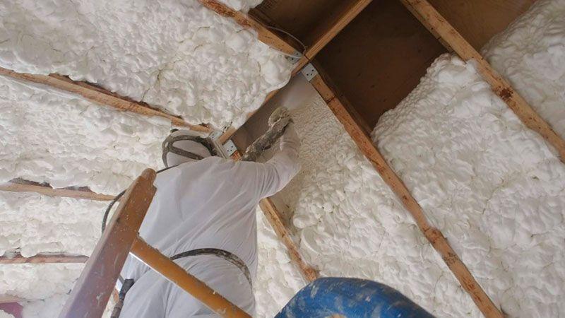 Pin By Jon Swarthout On Trica Ceiling Spray Foam Insulation Attic Bedroom Storage Spray Foam