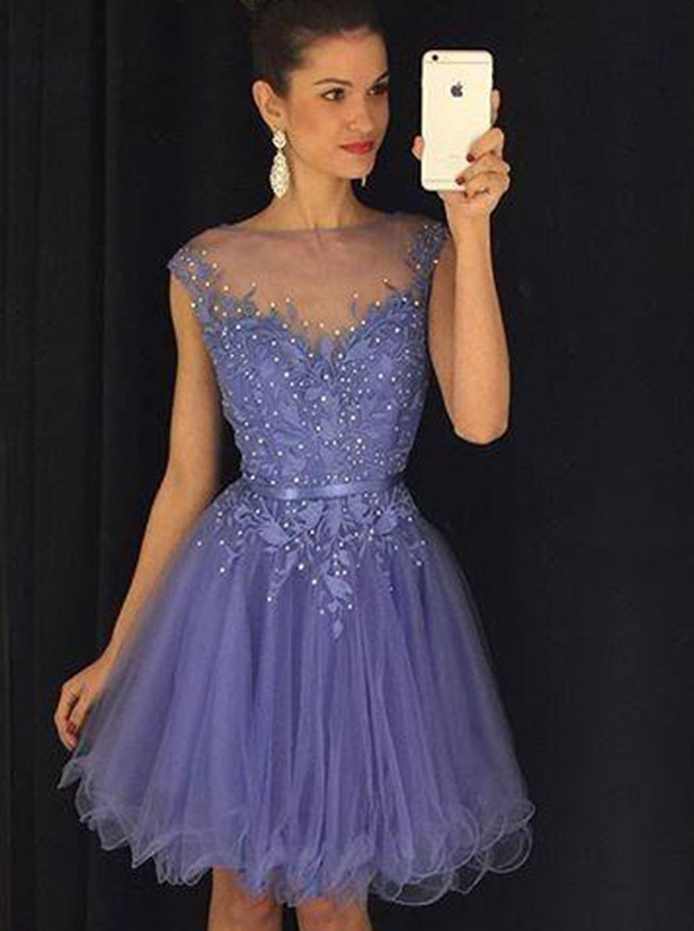 Stunning bateau cap sleeves short lavender homecoming dress with