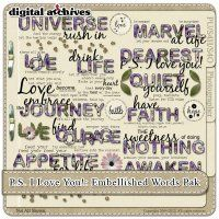 P. S. I Love You! Embellished Words Pak (S4H+) By Colleen Lynch @Digitals