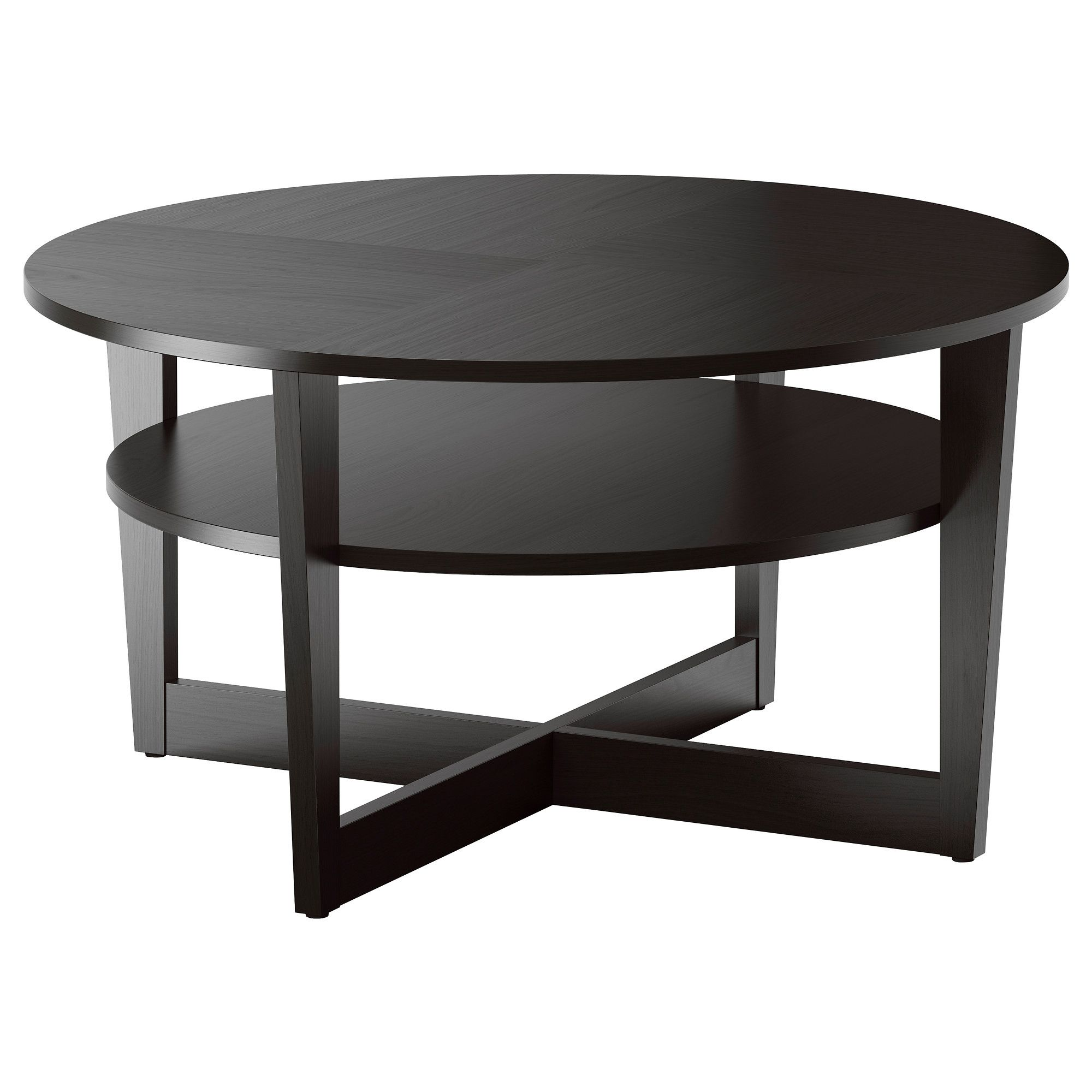 Vejmon Coffee Table Black Brown Round Ikea