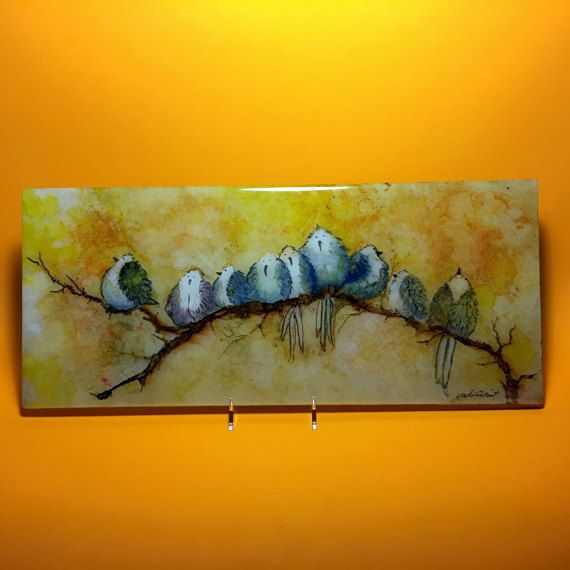 "Alcohol Ink Art, Original Wild Birds On A Tile , OOAK special edition 16.5""x 7"" Tile, Hand Painted Original Art, OOAK by YakiArtist"