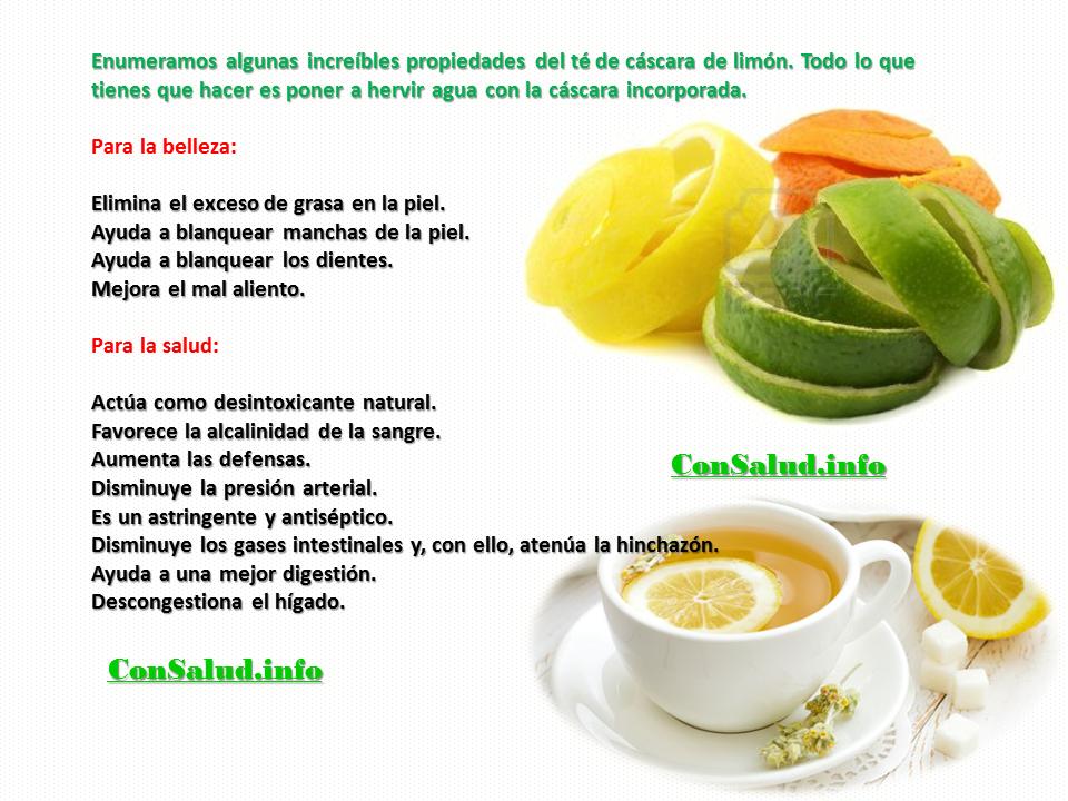 Las numerosas propiedades del té de cáscara de limón