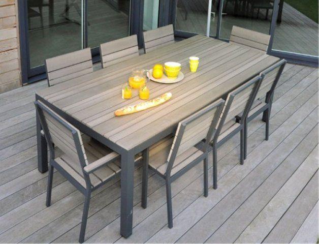 Salon de jardin en alu & en bois composite BROOKLYN Très tendance ...