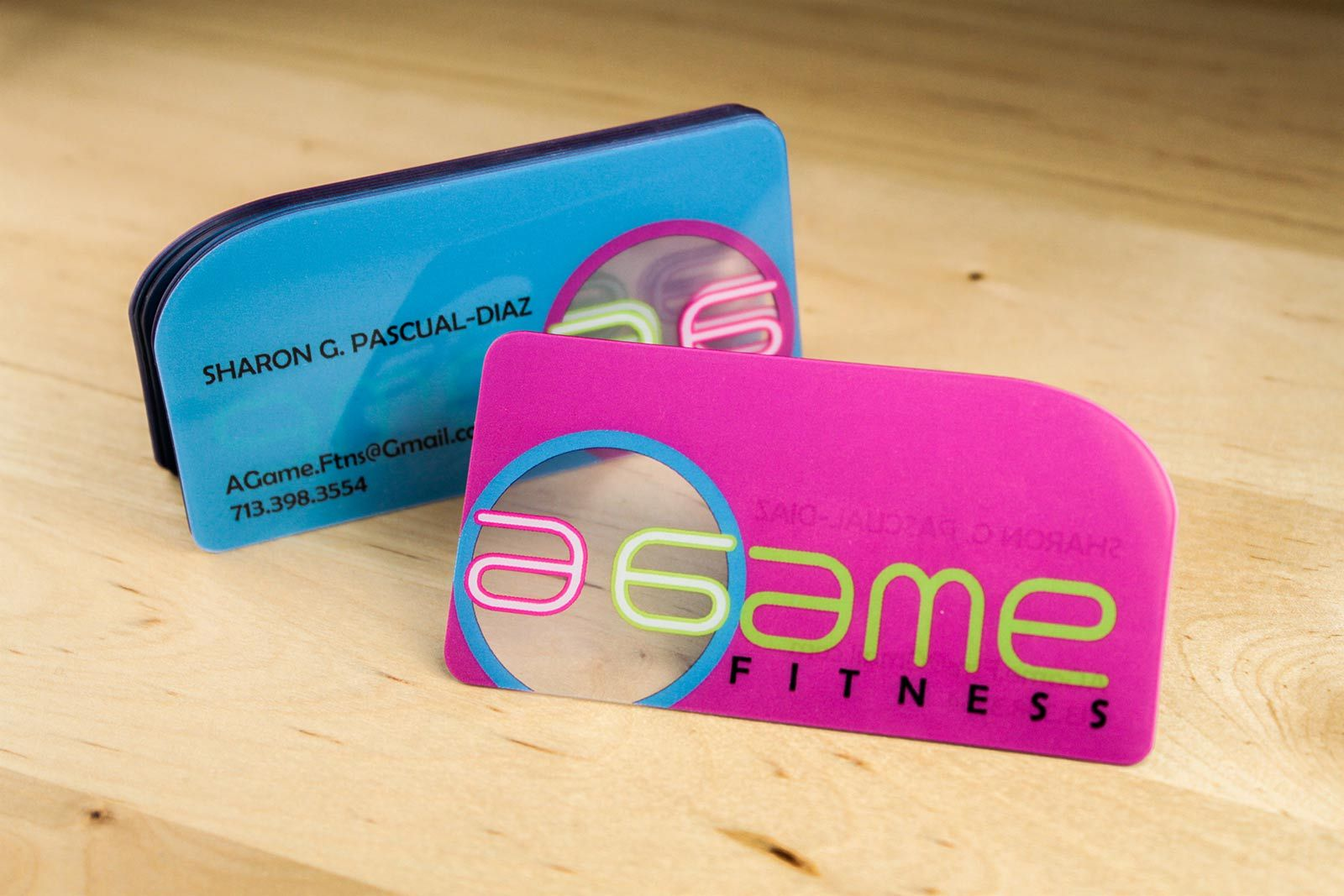 custom shape die cut creative business cards to A Game Fitness ...