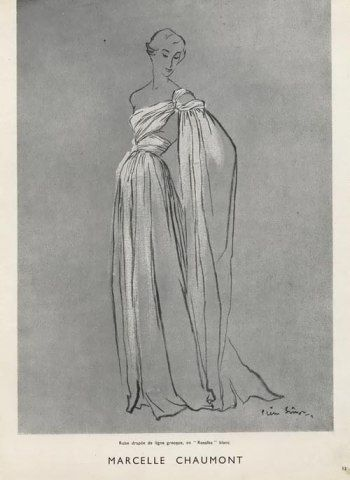 Pierre Simon Fashion Illustration Evening Gown