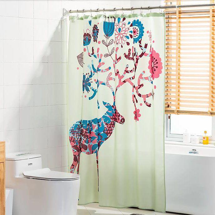 Sage Green Funky Deer Shower Curtains For Bathroom Cool Shower