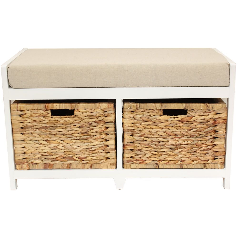 Home/hallway/bathroom bench/seat with seagrass wicker storage ...