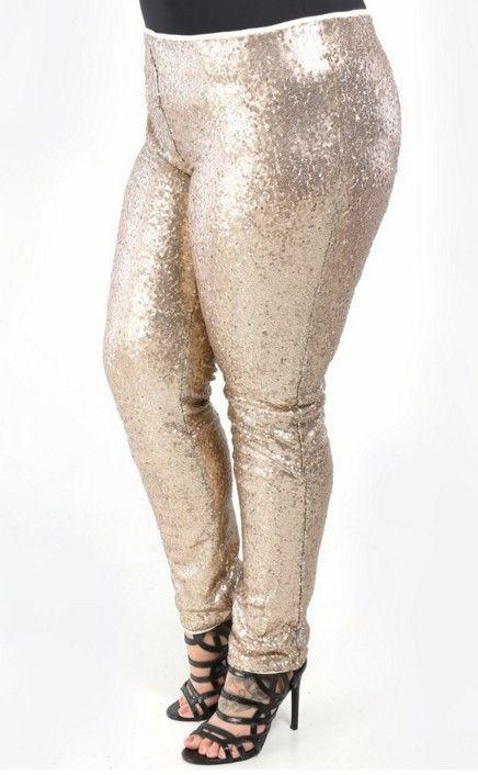 gold sequin leggings plus size - hardon clothes