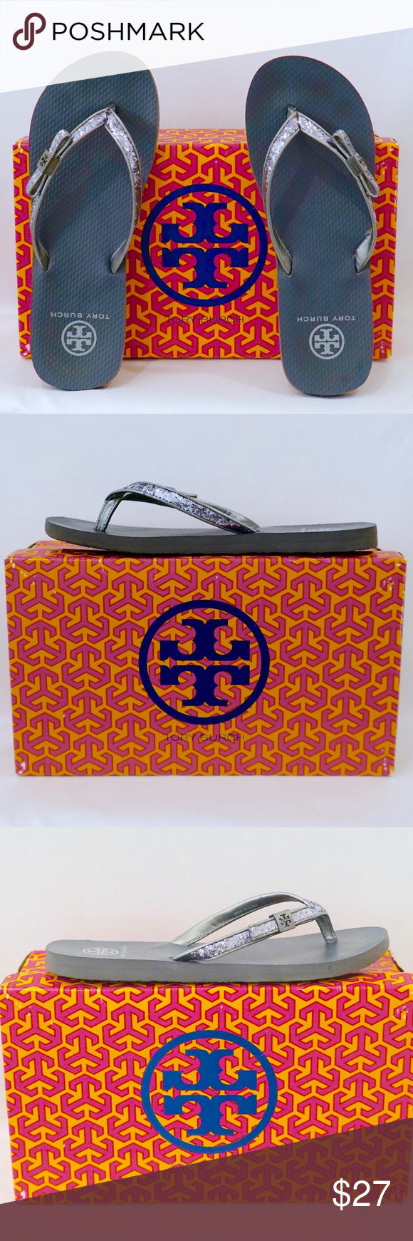24681b086 TORY BURCH~carey glitter bow~FLIP FLOP~PEWTER GRAY This is a