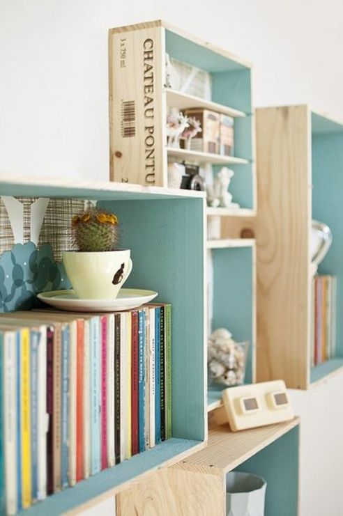 wooden crates into wall shelving