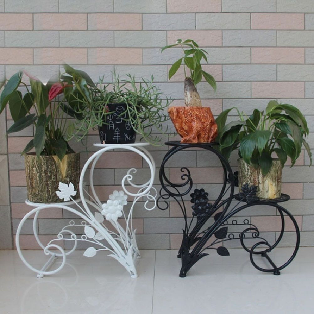 details about dazone metal plant stand flower pot rack home garden patio decor bonsai holder