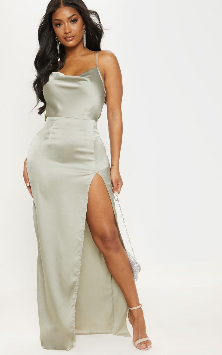 Shape Sage Green Satin Cowl Neck Maxi Dress #sagegreendress