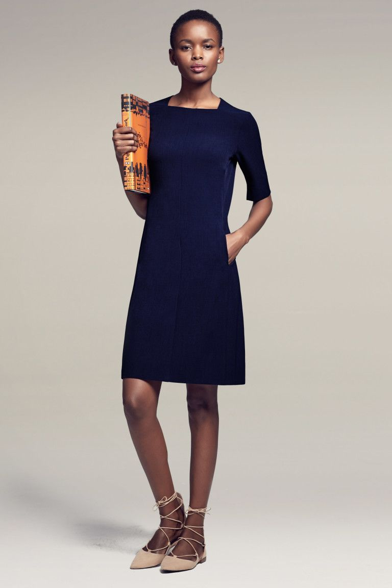 14319181 Women's Short Sleeve Washable Wool Dress from Lands' End   The Closet's  Dream   Wool dress, Dresses for work, Fashion