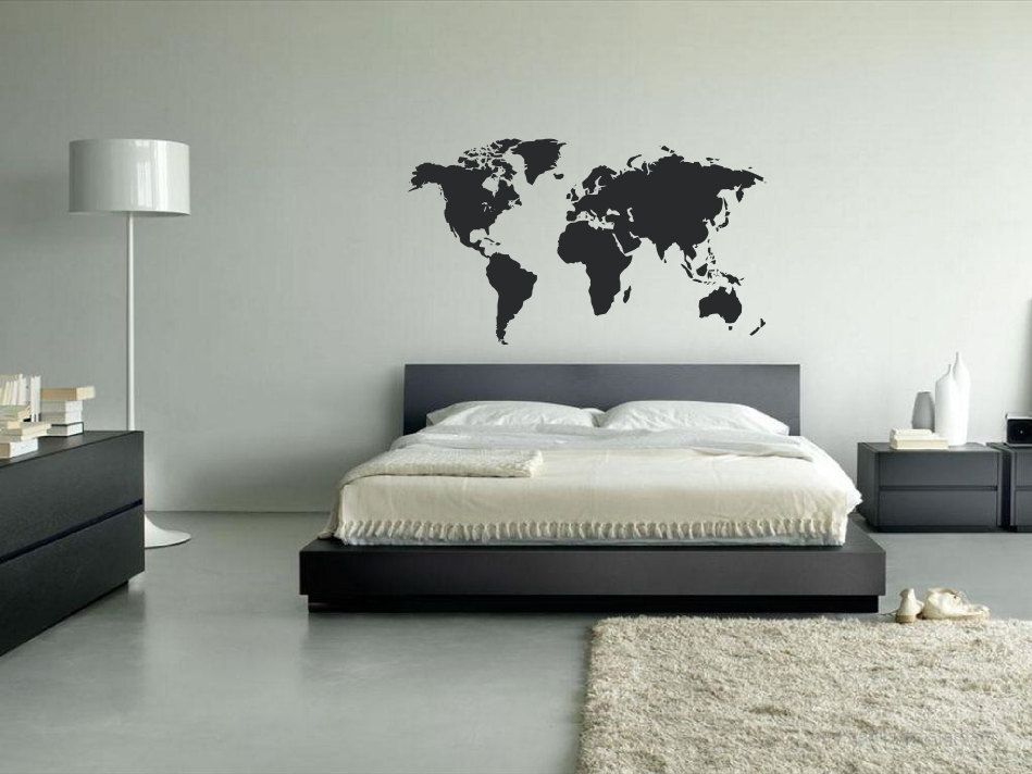 Vinyl world map decal world map wall decals world map wall art vinyl world map wall art decal perfect for offices school rooms bedrooms gumiabroncs