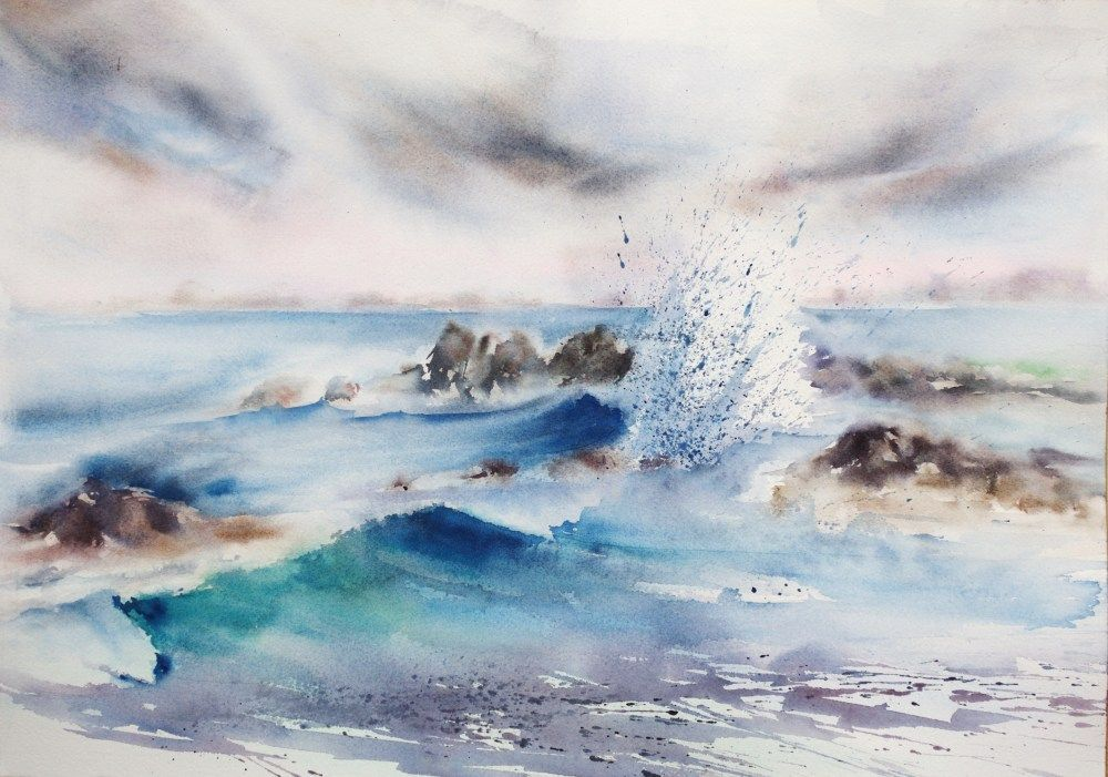 Aquarelle La Vague Aquarelle