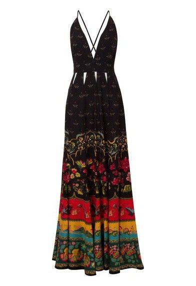 9a18937e7 FARM - Vestido longo Lucinda - preto - OQVestir | Costura em 2019 ...