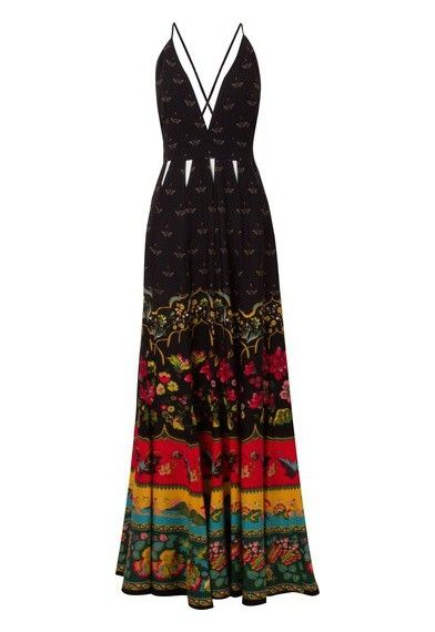 f6b455b38 FARM - Vestido longo Lucinda - preto - OQVestir