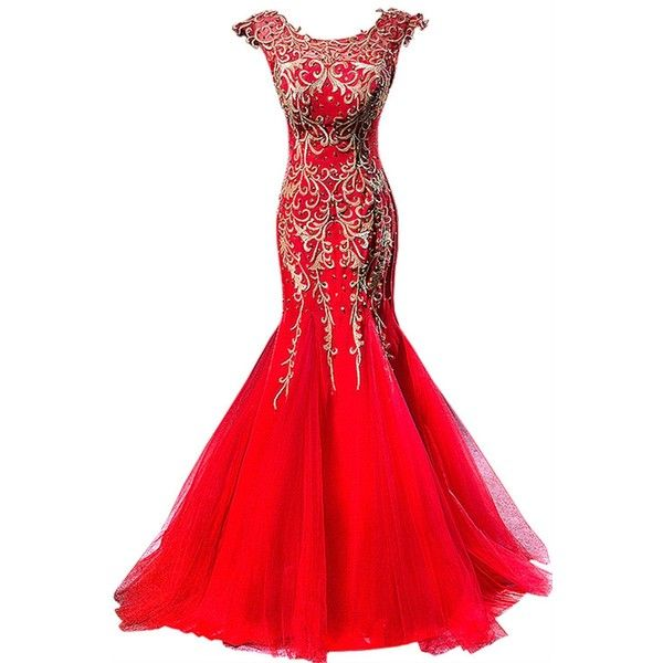 Amazon.com: Sheath Mermaid Evening dresses plus size Red gown US16 ...