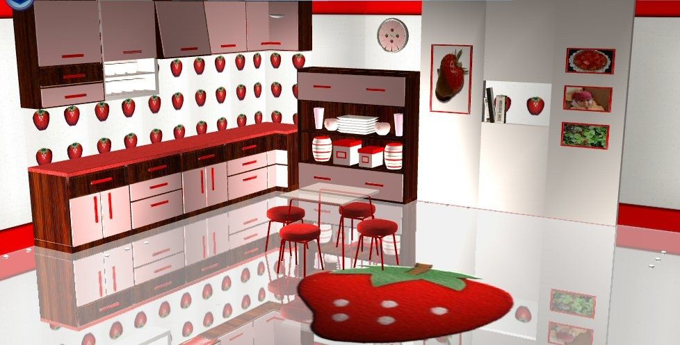 Images If Strawberry Kitchen Mod The Sims Recol Simtomatic Diner Decorations