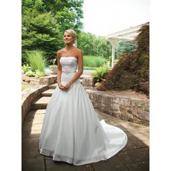 Beautiful Strapless Country Style Wedding Dress Ball Gown