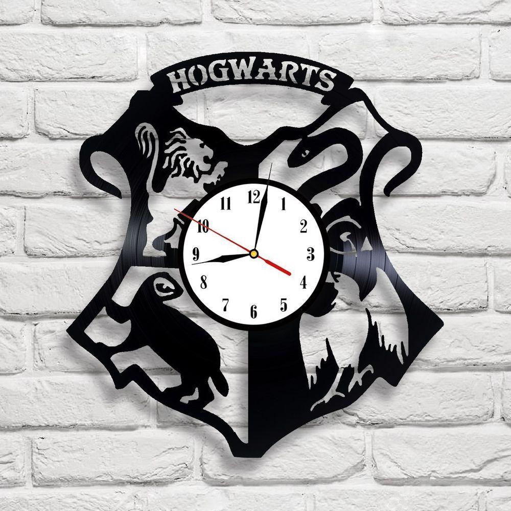 Hogwarts Logo Harry Potter Design Vinyl Record Clock Home