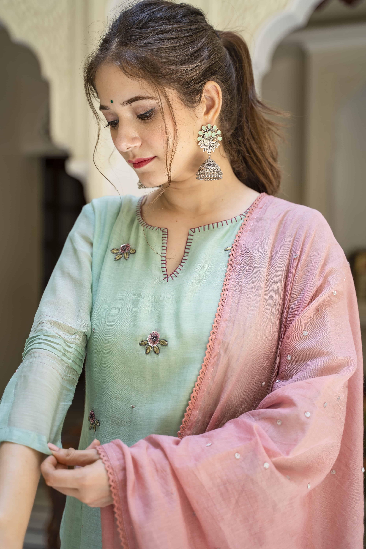 Designer hand Embroidery Kurti With Palazzo Set For Women and Girls||Designer Dresses||Designer Kurti Set||Kurti Dupatta Set||Free Ship