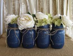 Royal Blue Mason Jars 3 Rustic Wedding Centerpieces Wedding