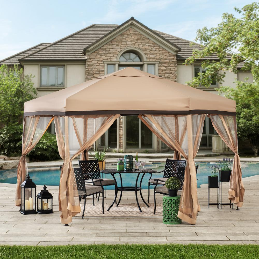 Sunjoy Wister 11 Ft X 11 Ft Tan And Brown 2 Tone Pop Up Portable Hexagon Steel Gazebo With Mosquito Netting 169230 In 2020 Gazebo Steel Gazebo Patio Gazebo