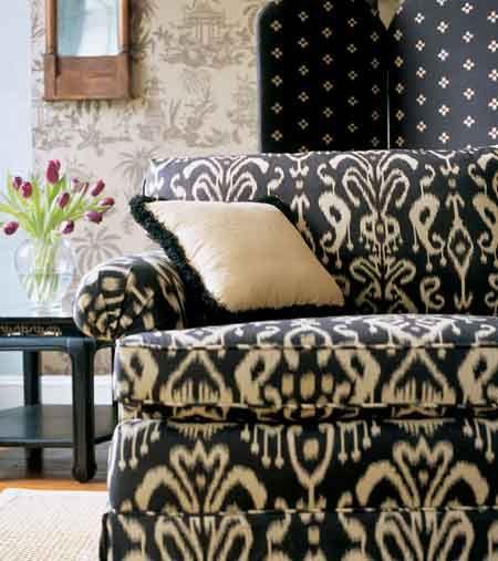 ikat sofa for the home pinterest ikat fabric ikat and fabric rh pinterest com Blue Ikat Tablecloth Anthropologie Sofa