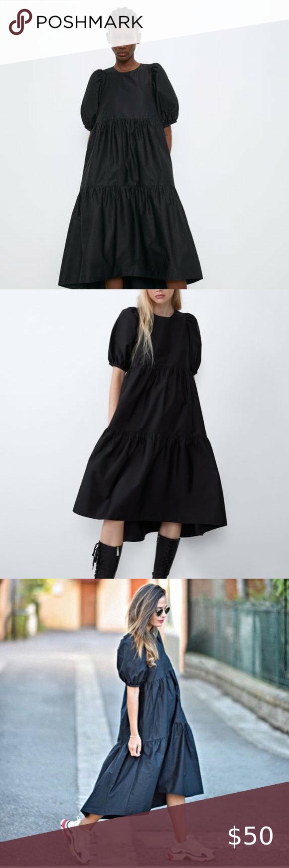 Zara Balloon Sleeve Black Poplin Dress Bnwot Poplin Dress Black Poplin Dress Short Sleeve Dresses [ 1740 x 580 Pixel ]