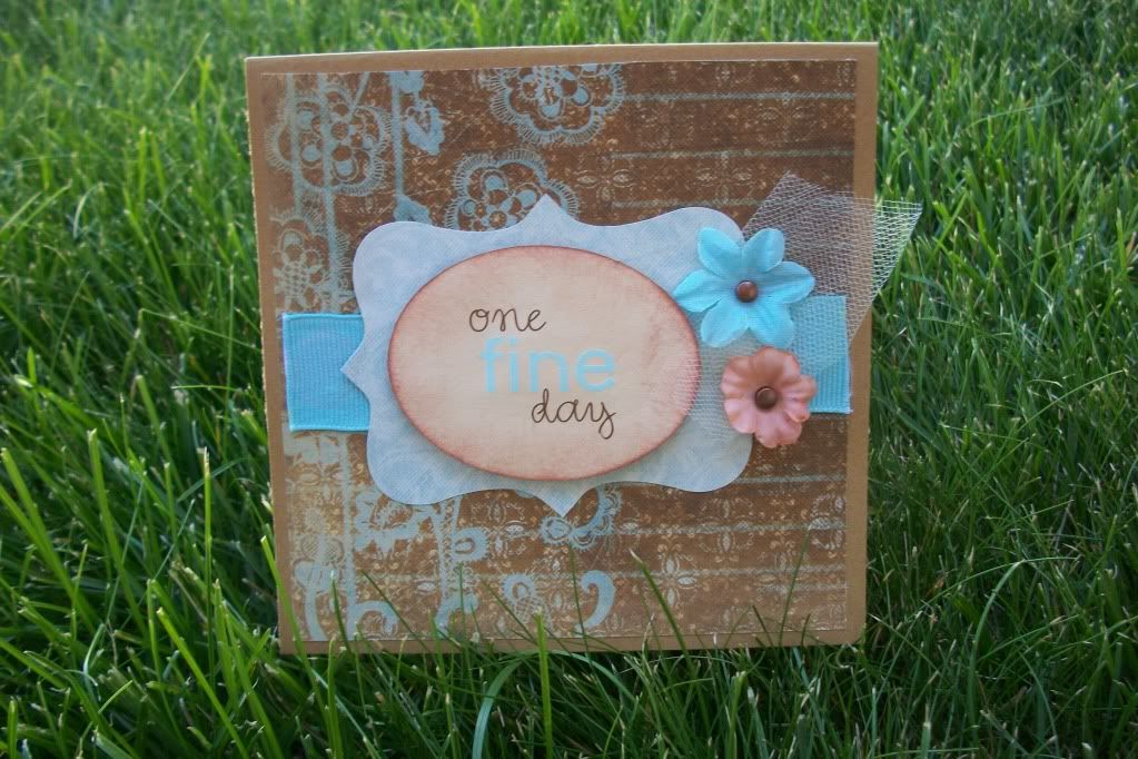 Wedding card, ribbon, one fine day, brown and blue