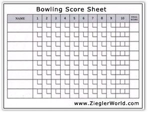 Free Printable Bowling Record Sheets Bowling Score By