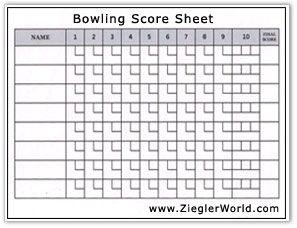 Bowling Dice Score Sheet