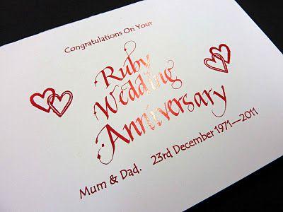 Personalised ruby wedding anniversary card wedding