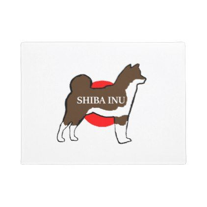 #shiba inu name silhouette on Japan-flag red sesame Doormat - #doormats #home & #living