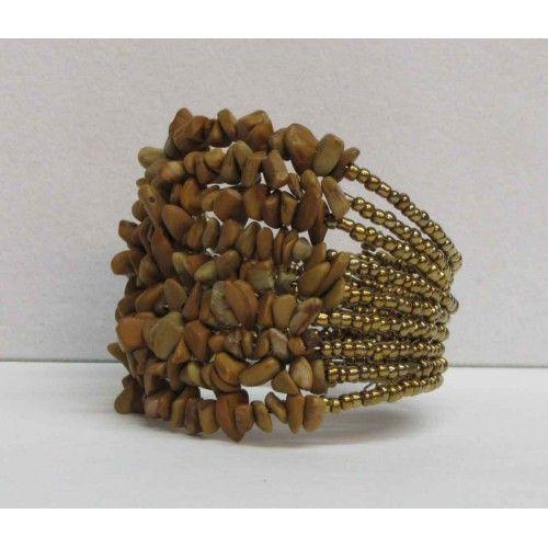 Bracelet extensible disponible en noir, brun et beige.
