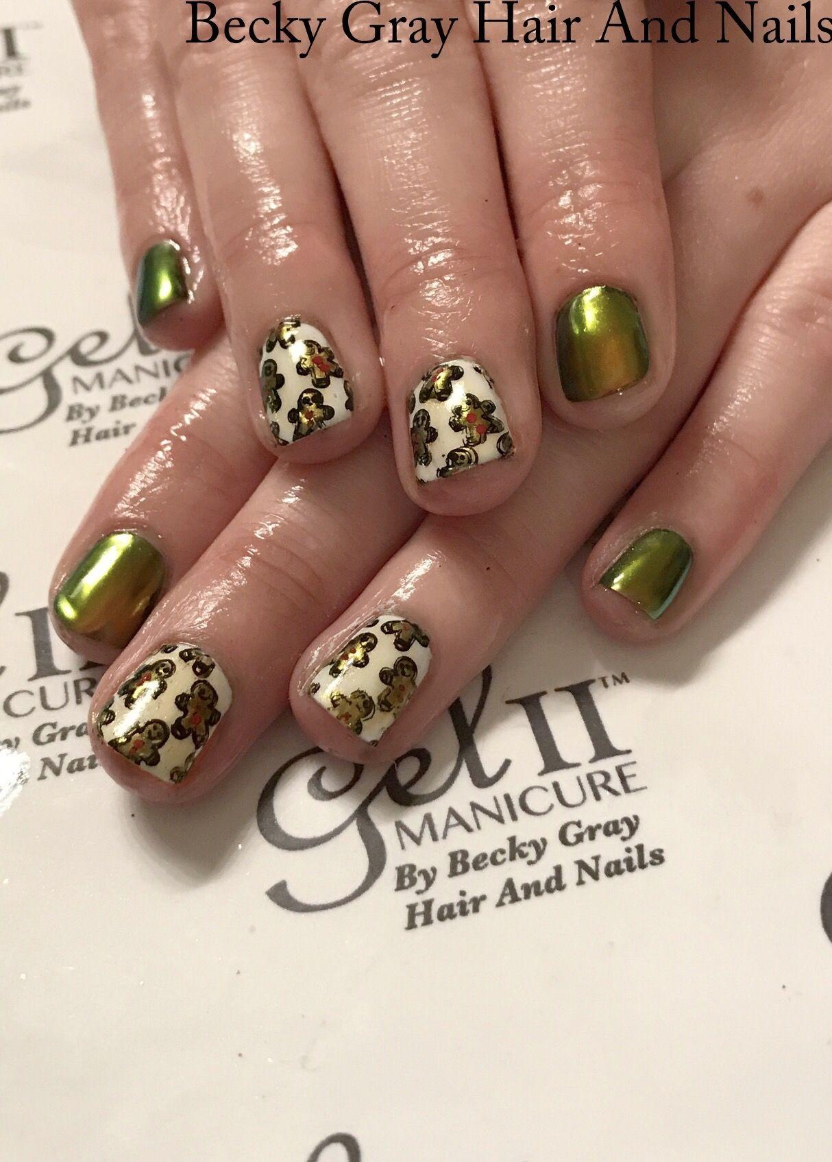 #gelii #manicure #chrome #geliichrome #moyoulondon #nailart #gingerbreadmen #christmas #christmasnails #showscratch #tcbg