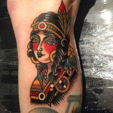 Native American Tattoo by Luke Jinks.  #tattoo #tattoos #tattooist #tradtional #tradtionaltattoo #nativeamerican #girl #girtattoo