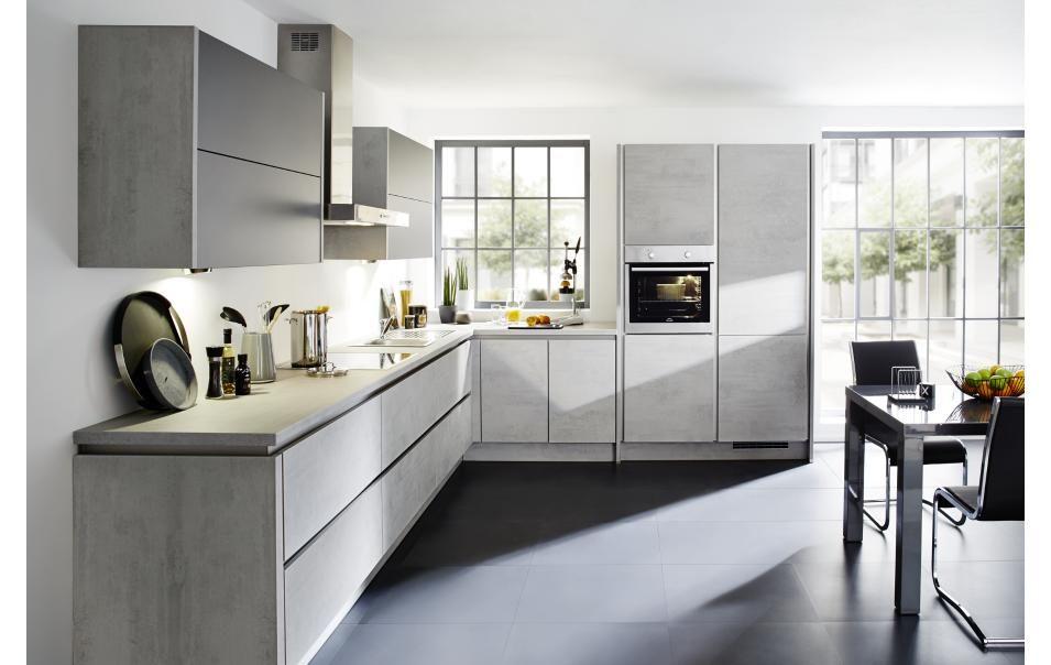 Grifflose Designküche in LForm (Winkelküche) in Beton