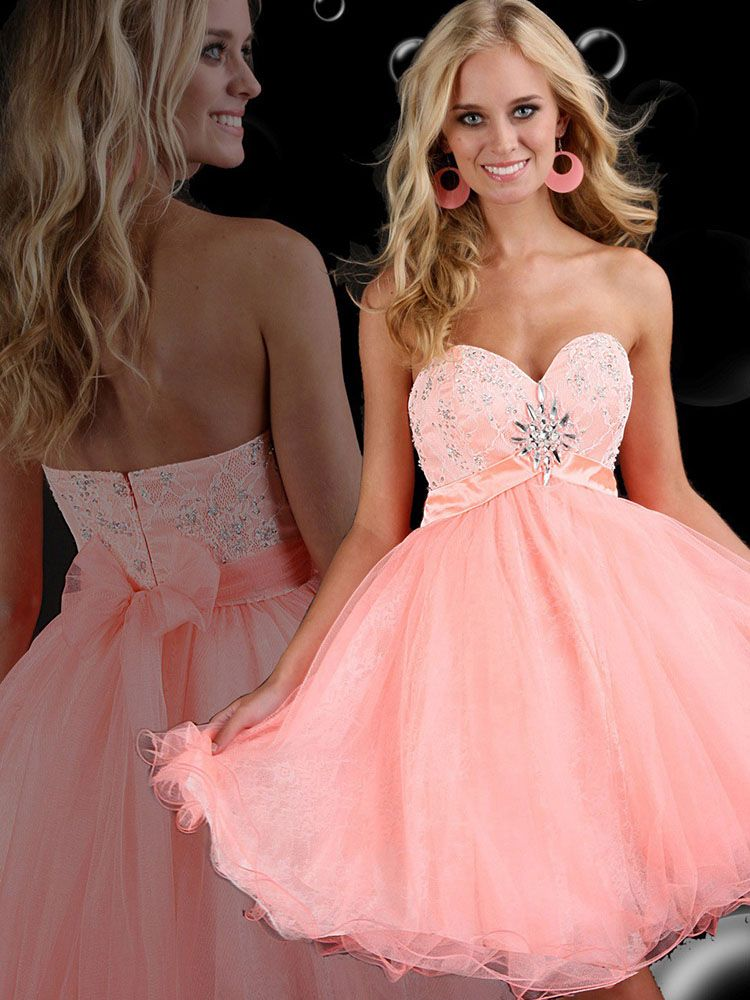 A-line Sweetheart Tulle Short/Mini Sweet 16 Dress With ...