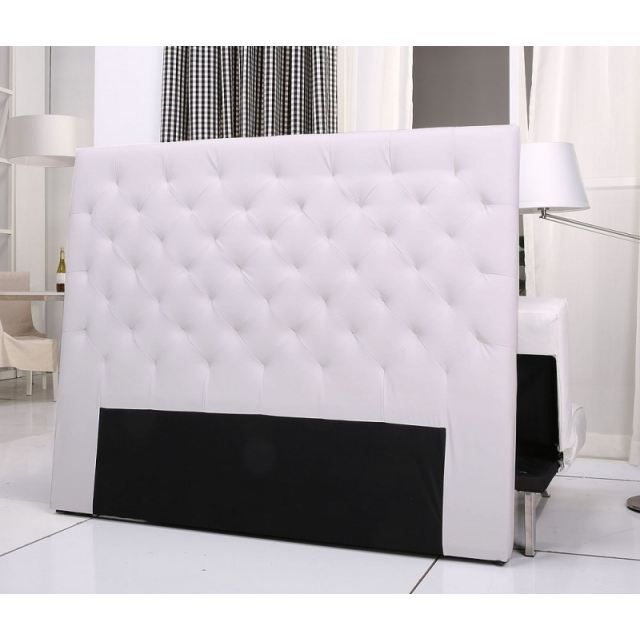 tete de lit capitonnee king 140 160cm pu blanc achat vente t te de lit tete de lit. Black Bedroom Furniture Sets. Home Design Ideas