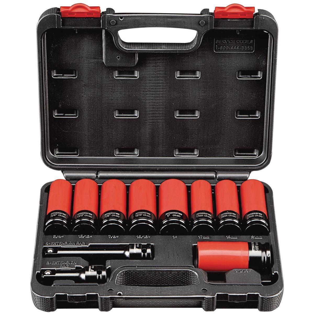 1 2 In Drive Super High Torque Lug Nut Impact Socket Set 11 Pc In 2020 Impact Socket Set Impact Sockets Socket Set