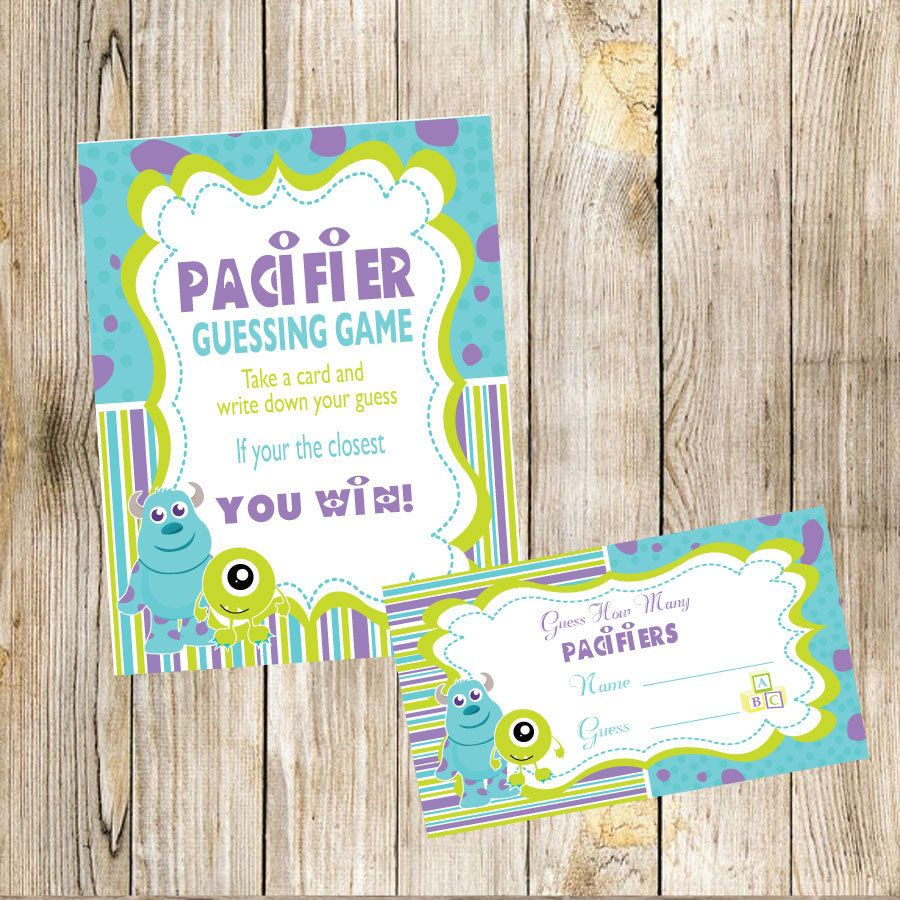 Monsters Inc Baby Shower Guess How Many Pacifiers Game by ...