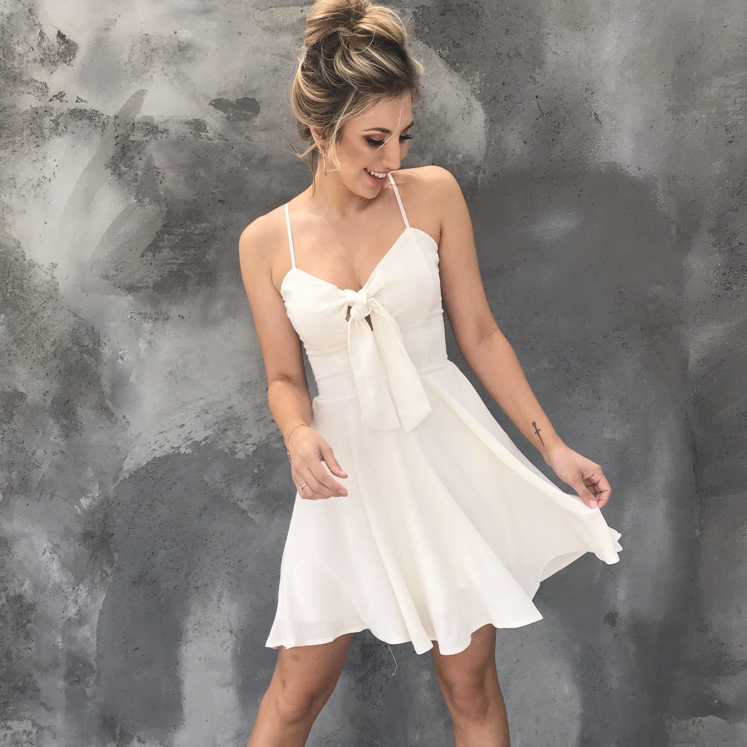 Hold You Close Linen Skater Dress In Ivory White Short Dress Cute White Dress Flowy Dress Short [ 2606 x 2607 Pixel ]