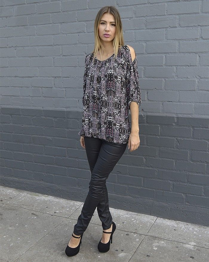 Abstract Print Cut Out Sleeve Top Is Just $7.99 #affordable plus ...
