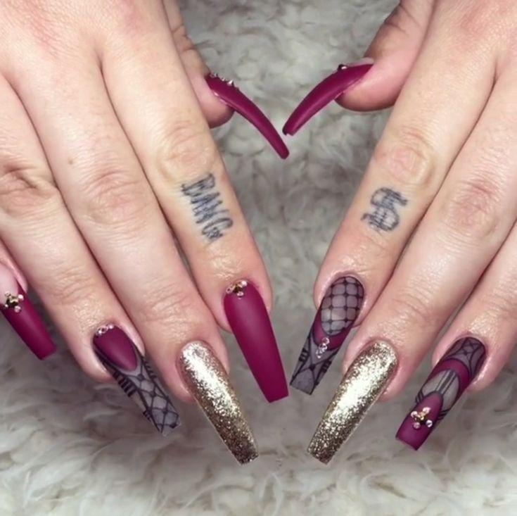 Long Cute Matte Burgundy Gold Glitter Coffin Nails | nail art ...