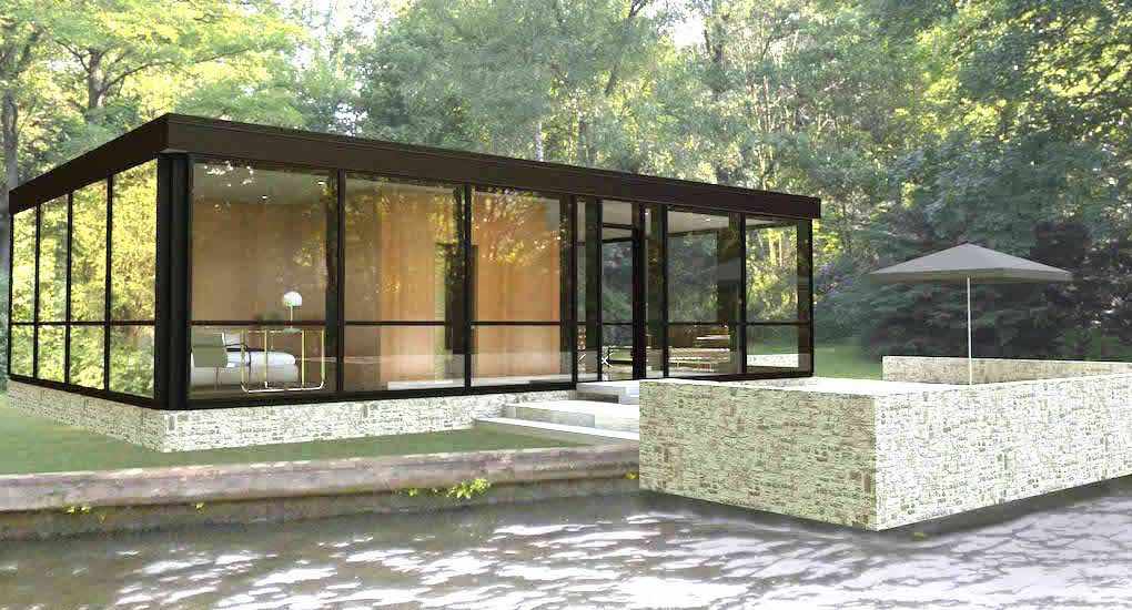 Prefab Glass House Lets You Bring Home The Spirit Of Philip Johnson S Masterpiece Prefab Guest House Glass House House Exterior